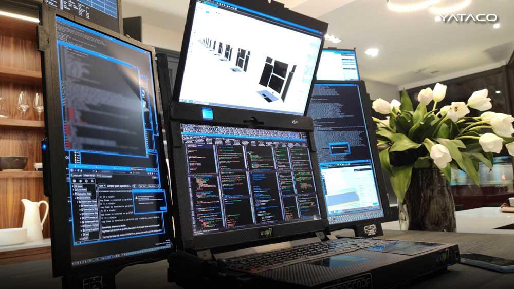 Expanscape presenta Aurora 7, la laptop con siete pantallas integradas